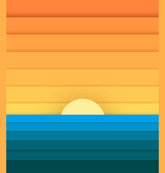 Sun and sea from paper modern banner for design vector