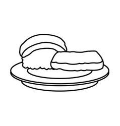 Sushi food japanese fish rice plate outline vector