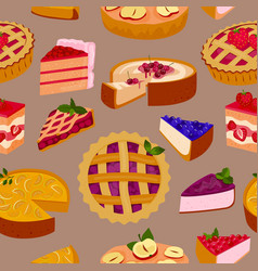 sweet cakes and pies slices seamless pattern vector image