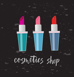 three lipsticks with text vector image