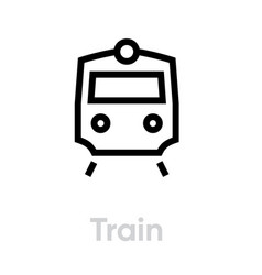 train icon editable transport single line vector image