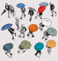 Urban pedestrians in rainy weather vector
