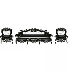 Vintage Baroque Sofa and armchair set vector