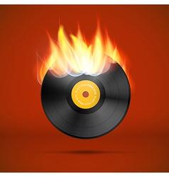 Vinyl Record Disc in Flames vector image vector image