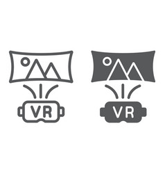 Virtual reality line and glyph icon technology vector