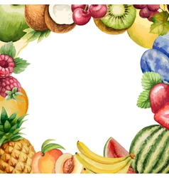 Watercolour fruit frame for your design vector