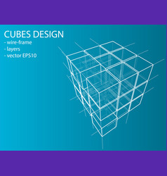 Wireframe boxes eps10 vector