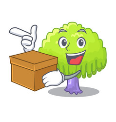 With box drawing of willow tree shape cartoon vector
