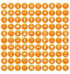 100 private property icons set orange vector image