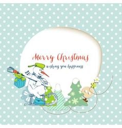 Christmas card funny snowman delivering gifts and vector image