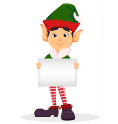 elf holding blank placard vector image