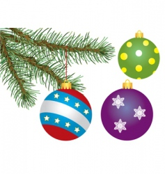 fir tree branch and decoration vector image