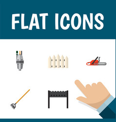 Flat icon dacha set of hacksaw barbecue pump and vector