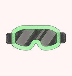 flat shading style icon ski goggles vector image