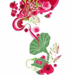 gramophone on the floral background vector image vector image