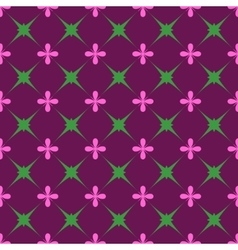 Green star and pink flower seamless pattern vector image vector image
