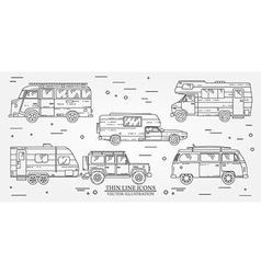 Set of tourist bus suv trailer jeep rv camper vector