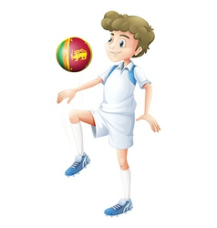 A young man using the ball with the flag of Sri vector image vector image