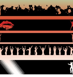Black Strips Dancers and Lips vector image vector image