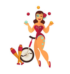 female juggler in scenic suit with equipment for vector image