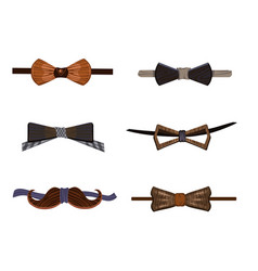 trendy hipster wooden bow ties collection vector image