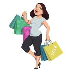 cartoon shopping girl vector image