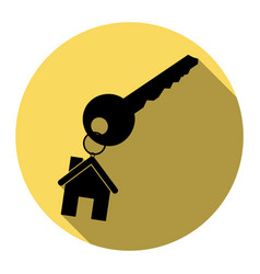 key with keychain as an house sign flat vector image