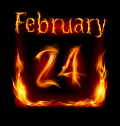 twenty-fourth february in calendar of fire icon vector image vector image