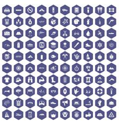 100 rafting icons hexagon purple vector