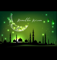 beautiful mosque with moon on green sky background vector image