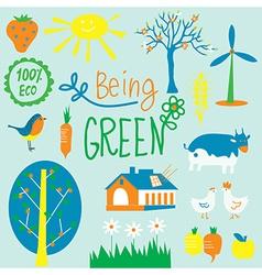 Eco friendly symbols set - agriculrure flowers vector image