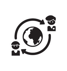 Flat icon in black and white business partners vector image vector image
