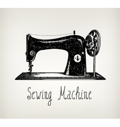 hand drawn retro vintage sewing machine vector image