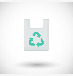 plastic bag with recycle sign flat icon vector image