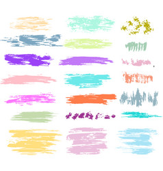 set of brush strokes in pastel colors vector image vector image