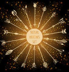 tribal arrows set on shining backround vector image