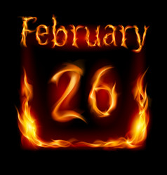 twenty-sixth february in calendar of fire icon on vector image