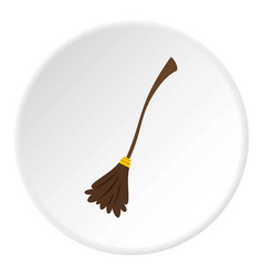 witch broom icon circle vector image
