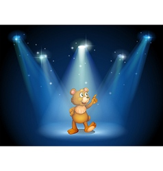 A stage with a huggable bear vector image