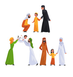 arab families in traditional clothes set happy vector image