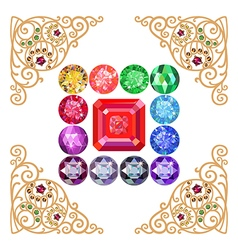 Asscher cut ruby encased in a squared frame vector image