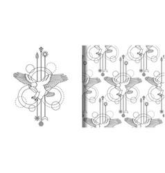 bald eagle print and seamless pattern set vector image