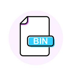 bin file format extension color line icon vector image