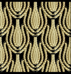 braided gold 3d ropes seamless patterm vintage vector image