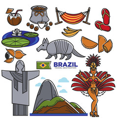 Brazil culture travel landmarks and famous vector