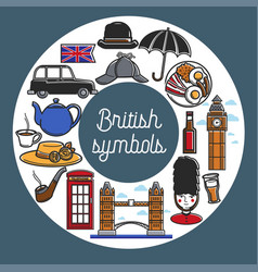 British symbols from cuisine and architecture in vector