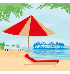 camping on the beach vector image