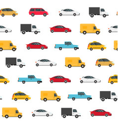 cartoon color modern car seamless pattern vector image