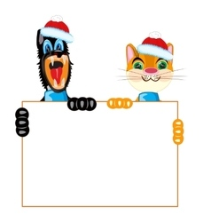 Cat and dog with poster vector image