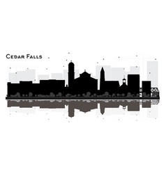 cedar falls iowa city skyline silhouette with vector image